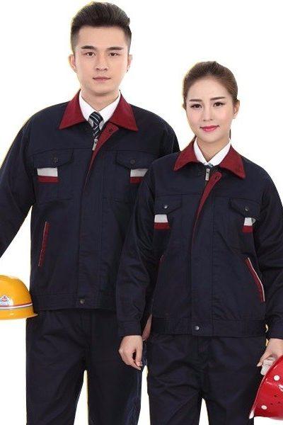 Đồng phục bảo hô lao động – Quần áo bảo hộ lao động tay dài màu đen phối đỏ 49
