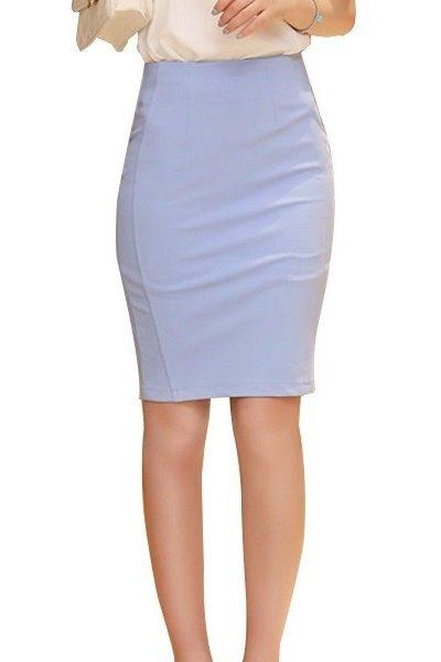 Đồng phục công sở – Chân váy body màu xanh nhạt 13