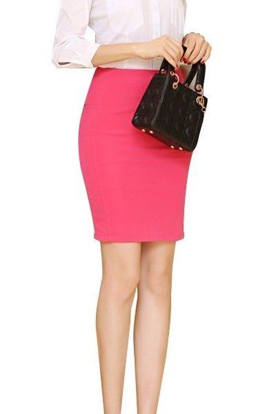 Đồng phục công sở – Chân váy body màu hồng 14
