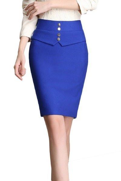 Đồng phục công sở – Chân váy body màu xanh dương có nút 15