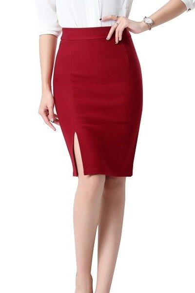 Đồng phục công sở – Chân váy body xẻ tà màu đỏ đô 24