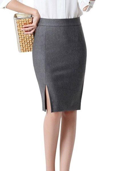 Đồng phục công sở – Chân váy body xẻ tà màu xám 25