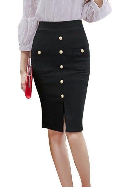 Đồng phục công sở – Chân váy body xẻ tà có nút và túi 26
