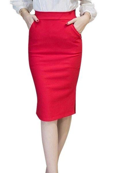 Đồng phục công sở – Chân váy body màu đỏ qua gối 27