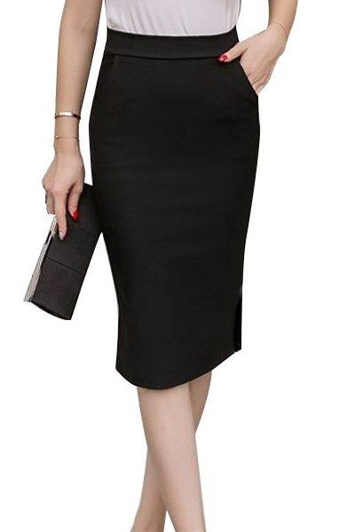 Đồng phục công sở – Chân váy body qua gối màu đen 28
