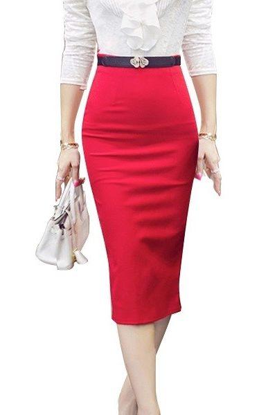 Đồng phục công sở – Chân váy body qua gối màu đỏ 29