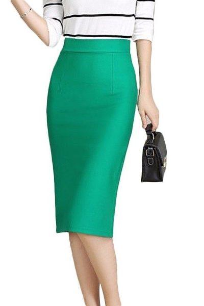 Đồng phục công sở – Chân váy body qua gối màu xanh lá 31