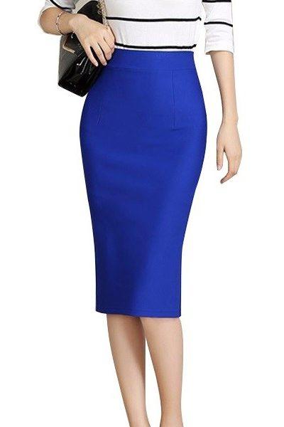 Đồng phục công sở – Chân váy body qua gối màu xanh dương 32