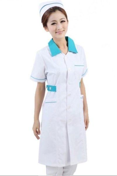 Đồng phục bệnh viện – Đồng phục y tá màu trắng cổ xanh 31
