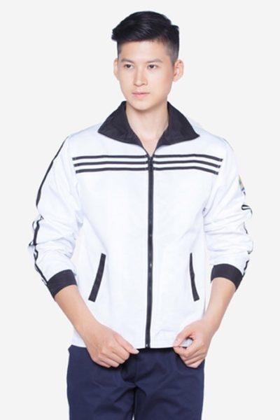 Đồng phục học sinh sinh viên – Áo khoác học sinh màu trắng sọc đen  13