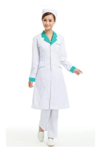 Đồng phục bệnh viện – Đồng phục y tá màu trắng cổ xanh 27