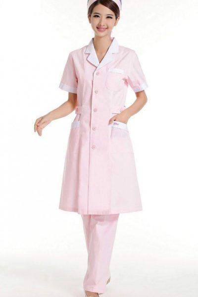 Đồng phục bệnh viện – Đồng phục y tá màu hồng viền trắng 41