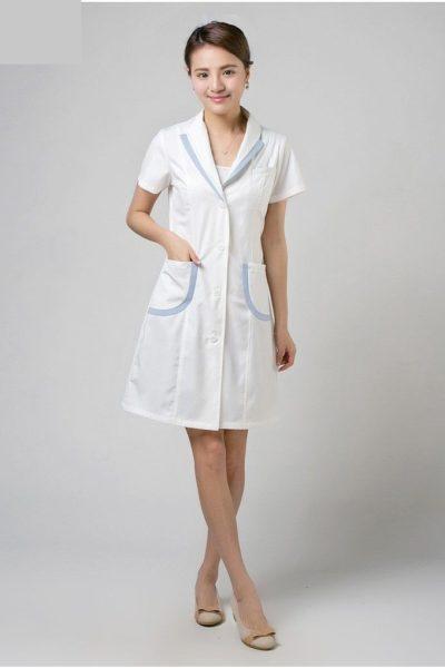 Đồng phục bệnh viện – Đồng phục y tá màu trắng viền xanh 42