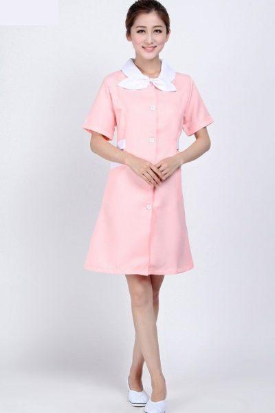 Đồng phục bệnh viện – Đồng phục y tá màu hồng cổ trắng 28