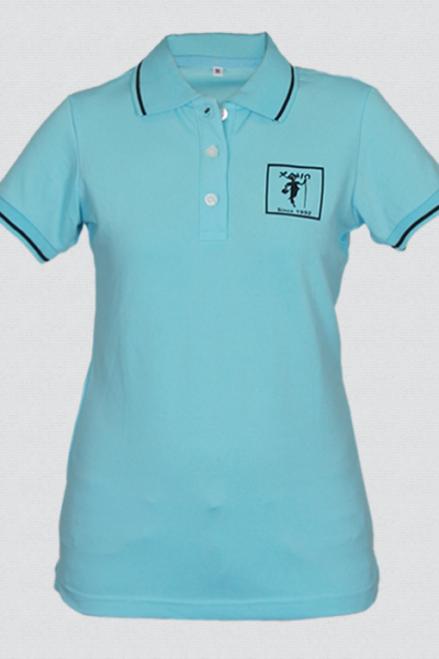 Đồng phục áo thun – Áo thun cổ trụ màu xanh viền đen 29