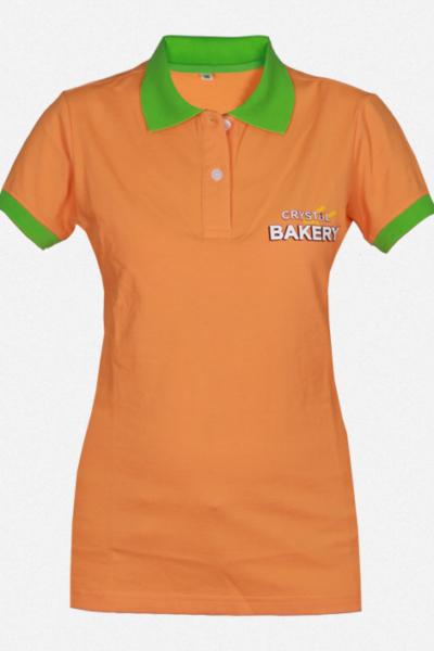 Đồng phục áo thun – Áo thun cổ trụ màu cam cổ xanh 30