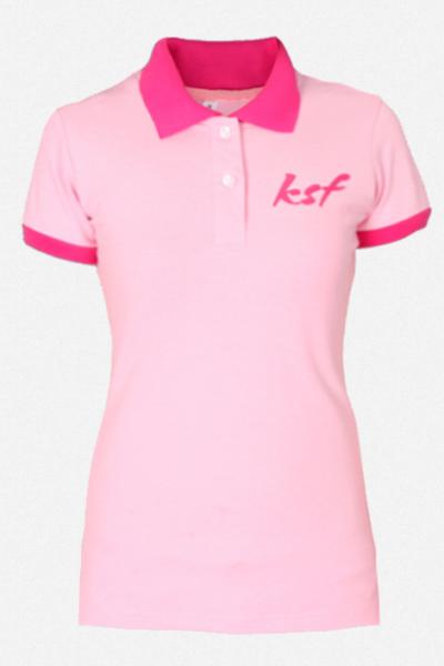 Đồng phục áo thun – Áo thun cổ trụ màu hồng 31