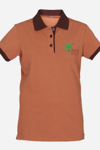 Đồng phục áo thun – Áo thun cổ trụ màu cam 36