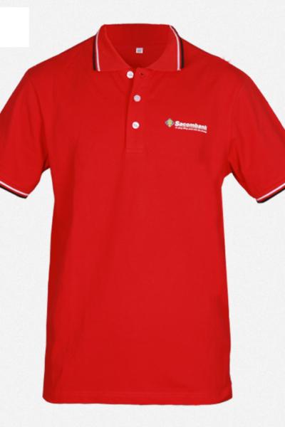 Đồng phục áo thun – Áo thun cổ trụ màu đỏ 37