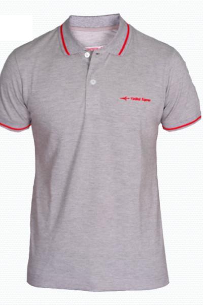 Đồng phục áo thun – Áo thun cổ trụ màu xám viền đỏ 38