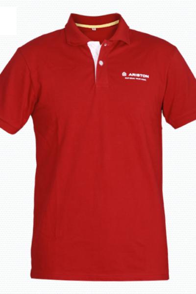 Đồng phục áo thun – Áo thun cổ trụ màu đỏ 41