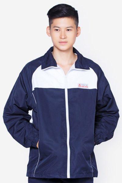 Đồng phục học sinh sinh viên – Áo khoác học sinh màu xanh đen phối trắng     15