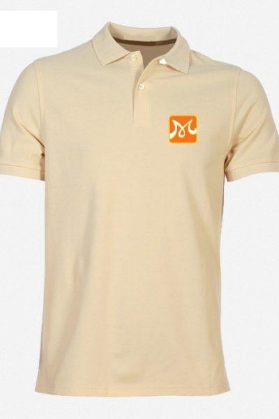 Đồng phục áo thun – Áo thun cổ trụ màu kem 43