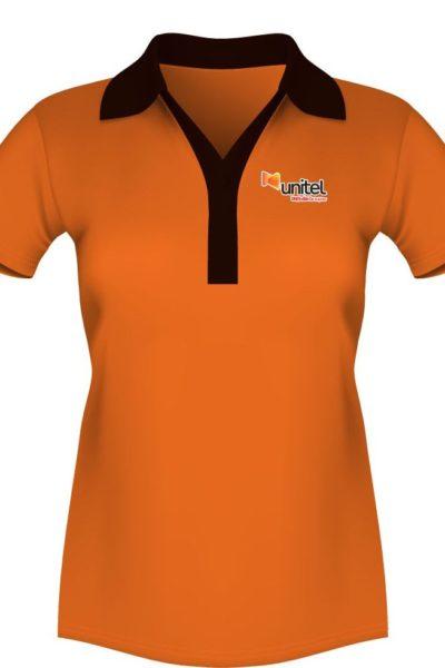 Đồng phục áo thun – Áo thun cổ trụ màu cam cổ đen 44