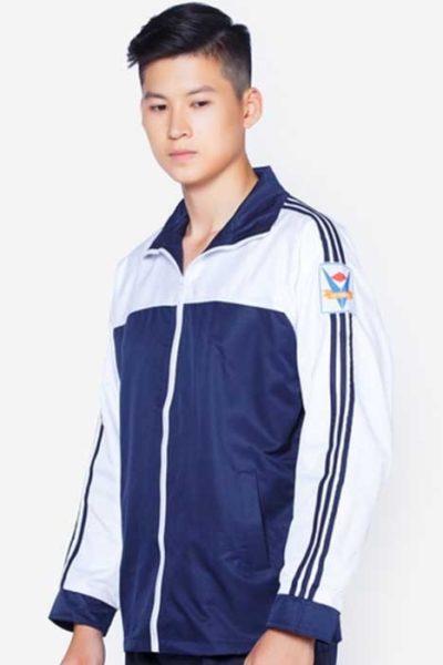Đồng phục học sinh sinh viên – Áo khoác học sinh màu xanh đen phối trắng   16