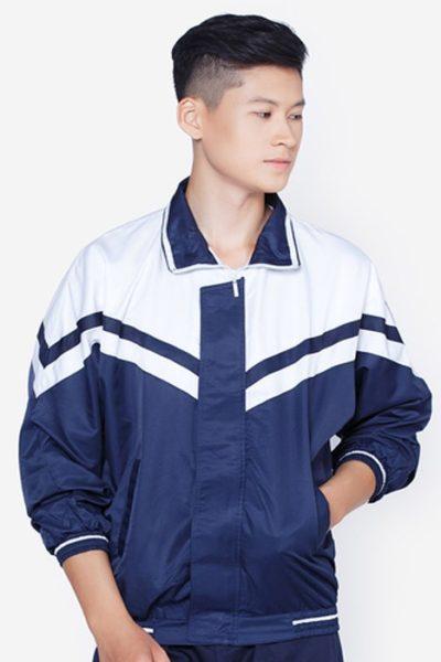 Đồng phục học sinh sinh viên – Áo khoác học sinh màu xanh phối trắng 03