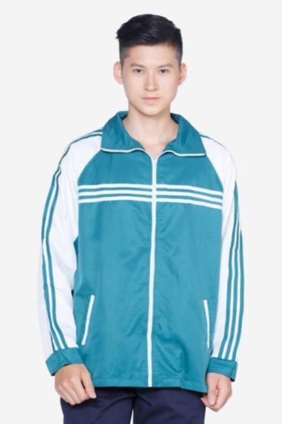 Đồng phục học sinh sinh viên – Áo khoác học sinh màu xanh phôí trắng 04