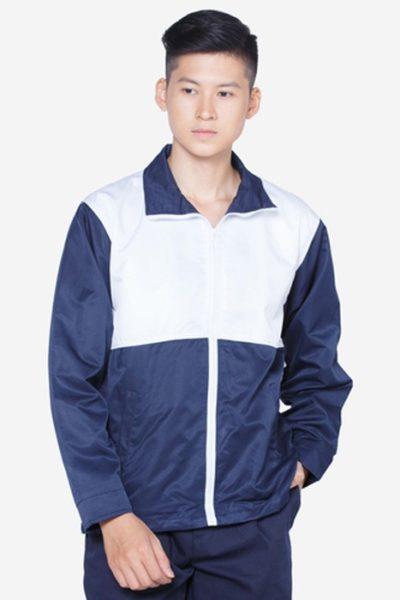 Đồng phục học sinh sinh viên – Áo khoác học sinh màu xanh đen phối trắng 06