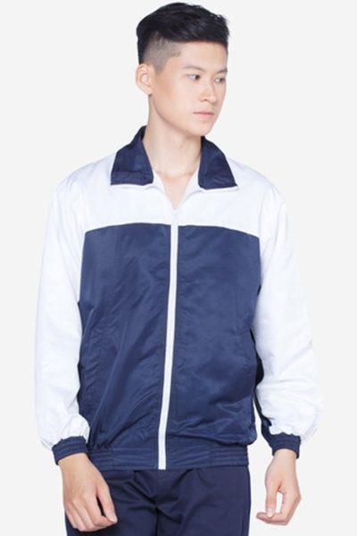 Đồng phục học sinh sinh viên – Áo khoác học sinh màu xanh đen phối trắng 07