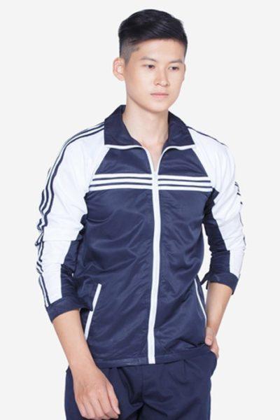Đồng phục học sinh sinh viên – Áo khoác học sinh màu xanh đen phối trắng 08