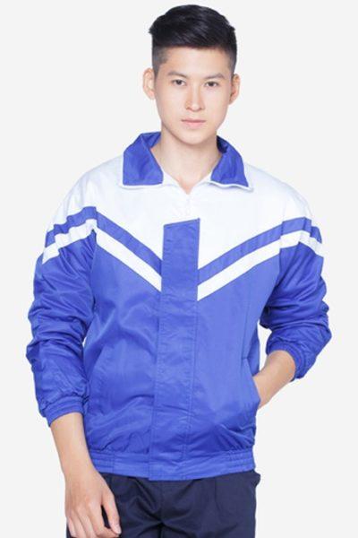 Đồng phục học sinh sinh viên – Áo khoác học sinh màu xanh phối trắng 19