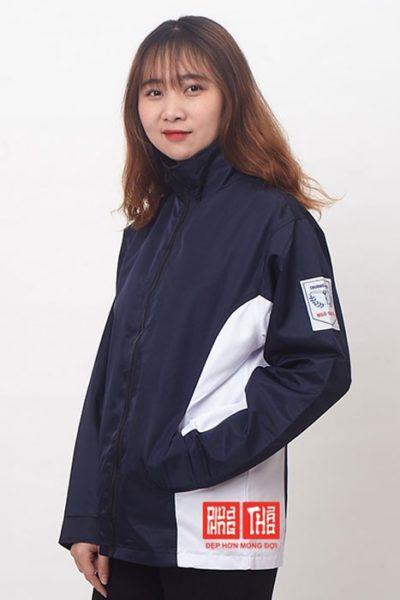 Đồng phục học sinh sinh viên – Áo khoác học sinh màu xanh đen phối trắng 29