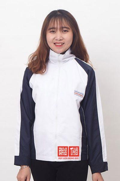 Đồng phục học sinh sinh viên – Áo khoác học sinh màu trắng phối xanh đen 33