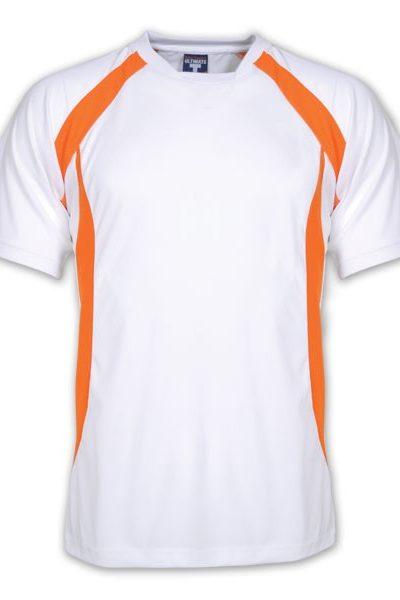 Đồng phục áo thun – Áo thun cổ tròn màu trắng viền cam 20
