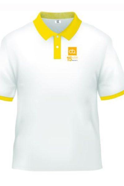 Đồng phục áo thun – Áo thun cổ trụ màu trắng cổ vàng 16