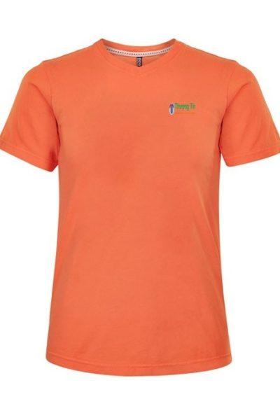 Đồng phục áo thun – Áo thun cổ tim màu cam 23