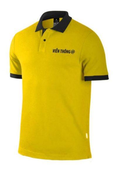 Đồng phục áo thun – Áo thun cổ trụ màu vàng cổ đen 22