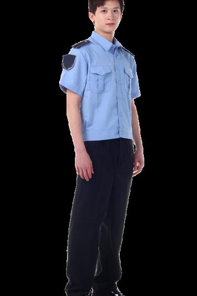 Đồng phục bảo vệ vệ sĩ – Quần áo bảo vệ vệ sĩ áo sơ mi xanh quân tây đen 40