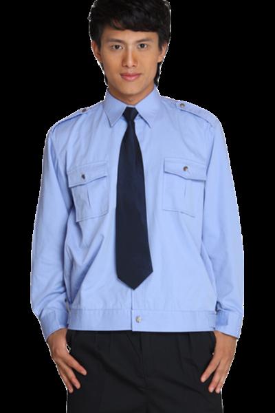 Đồng phục bảo vệ vệ sĩ – Quần áo bảo vệ vệ sĩ áo sơ mi xanh quần tây đen cavat đen 34