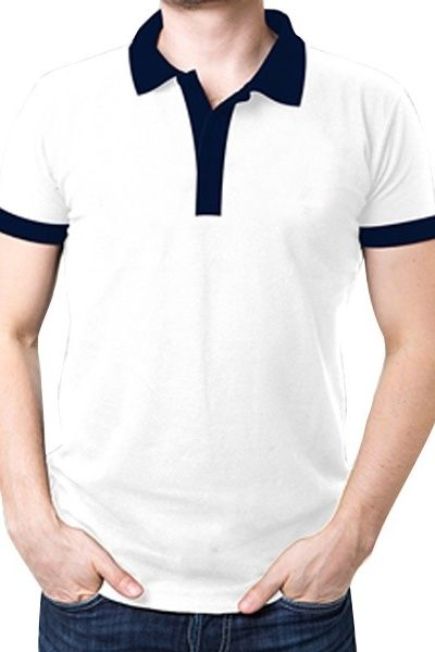 Đồng phục áo thun – Áo thun cổ trụ màu trắng  cổ đen 09