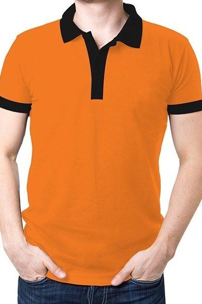 Đồng phục áo thun – Áo thun cổ trụ màu cam cổ đen 06