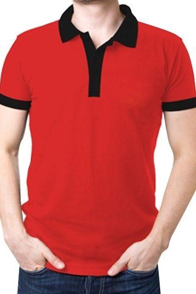 Đồng phục áo thun – Áo thun cổ trụ màu đỏ cổ đen 08