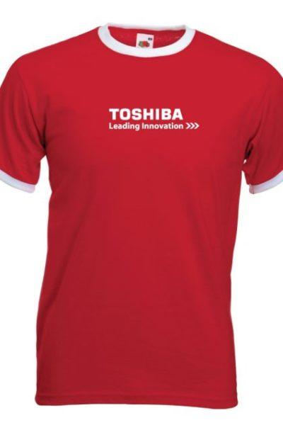 Đồng phục áo thun – Áo thun cổ tròn màu màu đỏ viền trắng 25