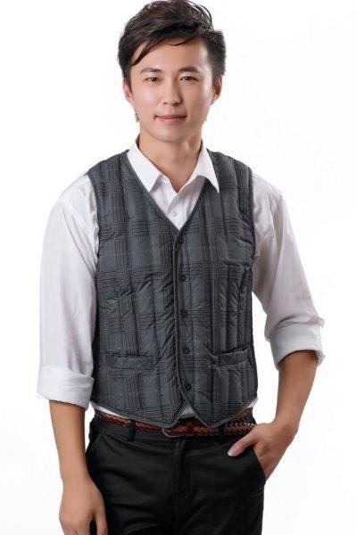 Đồng phục công sở – Áo ghi lê nam màu xám phối caro 19