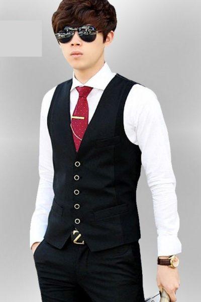 Đồng phục cống ở – Áo ghi lê nam màu đen 23