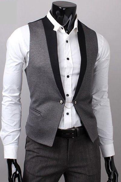 Đồng phục công sở – Áo ghi lê nam màu xám viền đen 28